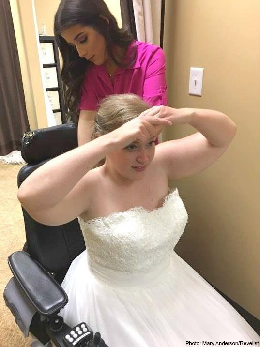 Julie McMillian trying on various wedding dresses to find her match.