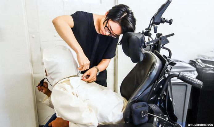 "Yuchen Zhang designing wheelchair suited clothing for ""Open Style Lab"""